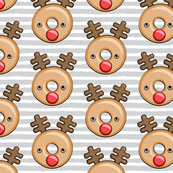 Reindeer donuts - grey stripes - Christmas & winter