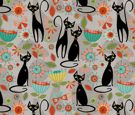 mid century cats fabric by cjldesigns on Spoonflower - custom fabric