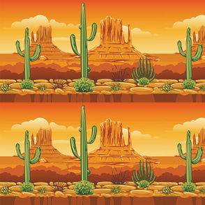 Desert Mountains Cactus Border