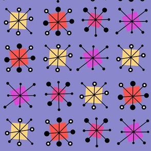 Atomic starbursts in warm colours purple background