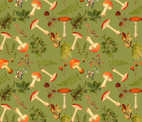 "10"" Autumn Harvest in the forest on green  fabric by utart on Spoonflower - custom fabric"