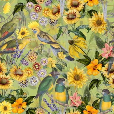 "18"" Tropical Flower Watercolor Bird Jungle"