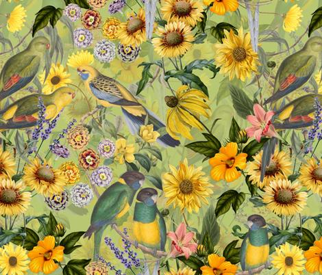 "18"" Tropical Flower Watercolor Bird Jungle fabric by utart on Spoonflower - custom fabric"