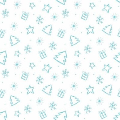 Ditsy Christmas blue & white