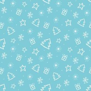 Ditsy Christmas Blue