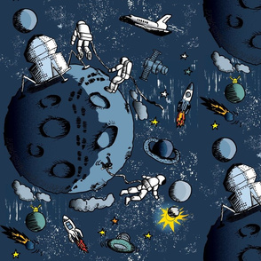 Landing on the Moon: Astronauts Comic Art