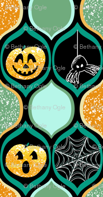 Halloween Pumpkin Jack o Lantern with Spiders and Webs in Teal, Black, Ogee Pattern