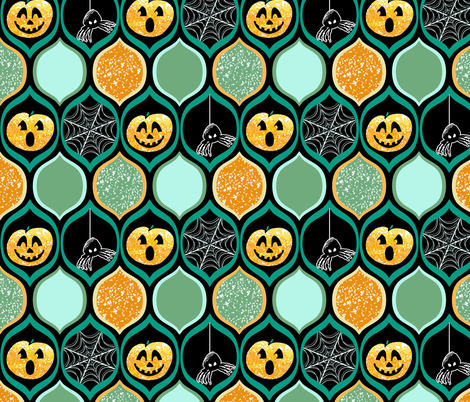 Halloween Pumpkin Jack o Lantern with Spiders and Webs in Teal, Black, Ogee Pattern fabric by amborela on Spoonflower - custom fabric