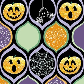Halloween Pumpkin Jack o Lantern with Spiders and Webs in Purple, Black, Ogee Pattern