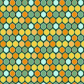 Teal, Black, Orange Halloween Coordinate, Ogee Pattern
