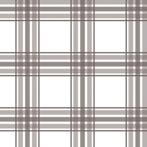 farmhouse plaid in taupe and white