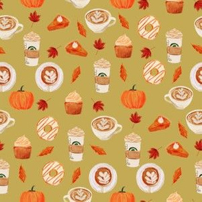 SMALL - watercolor psl - pumpkin spice latte, coffee, latte, pumpkin, fall, autumn fabric - olive