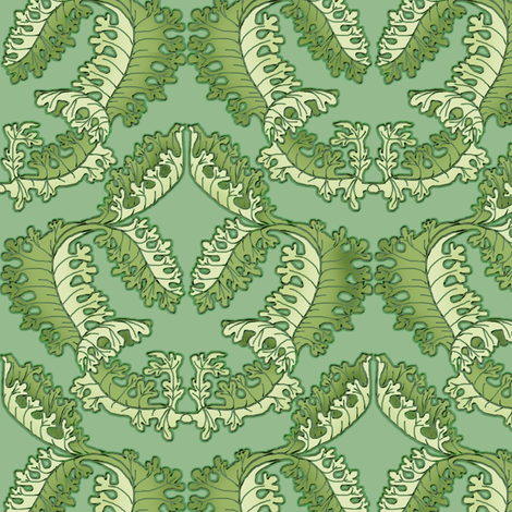 Acanthus Leaf Shadowed Green on Green fabric by eclectic_house on Spoonflower - custom fabric