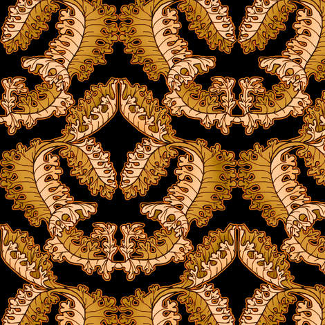 Acanthus Leaf Shadowed Tan with Orange Glow on Black fabric by eclectic_house on Spoonflower - custom fabric
