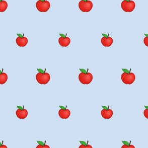 Small Red Apples on Blue