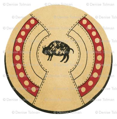 Native American Buffalo Bison Shield