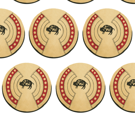 Native American Buffalo Bison Shield fabric by fabric_is_my_name on Spoonflower - custom fabric