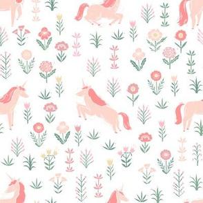 linocut unicorn // flower, floral, linocut, unicorns nursery baby design - cute andrea lauren fabric - white
