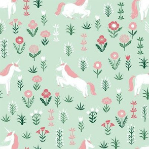 linocut unicorn // flower, floral, linocut, unicorns nursery baby design - cute andrea lauren fabric - mint