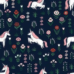 linocut unicorn // flower, floral, linocut, unicorns nursery baby design - cute andrea lauren fabric - dark