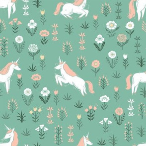 linocut unicorn // flower, floral, linocut, unicorns nursery baby design - cute andrea lauren fabric - green