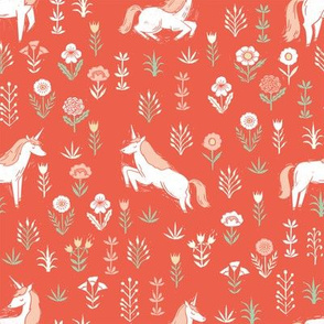 linocut unicorn // flower, floral, linocut, unicorns nursery baby design - cute andrea lauren fabric - coral