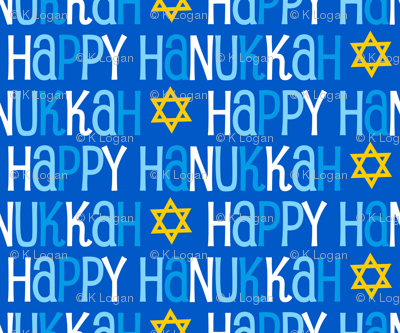 Hanukkah Blue and Gold Star of David
