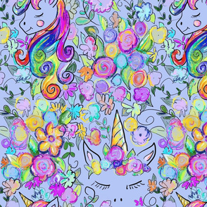 Rainbow Unicorns + Flowers // Soft Blue