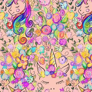 Rainbow Unicorns + Flowers // Peach