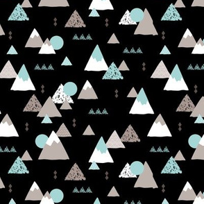Geometric fuji japan mountain illustration winter woodland  black night