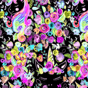 Rainbow Unicorns + Flowers // Black