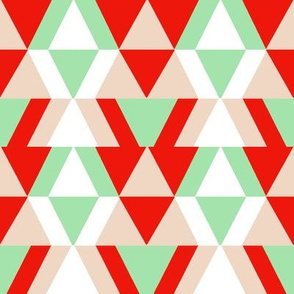 geometric shapes in mint and red