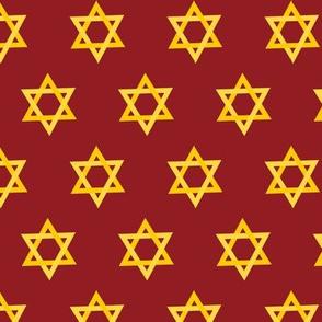 Hanukkah Red and Gold Star of David