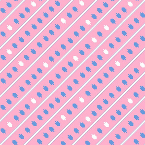Hanukkah Stripes Driedel Gradant Blue and Pink