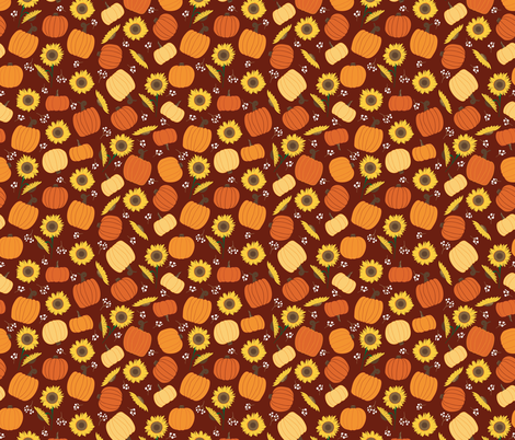 Pumpkins Sunflowers Ditsy Flowers seamless repeat pattern fabric by mae_june_designs on Spoonflower - custom fabric