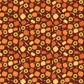 Pumpkins Sunflowers Ditsy Flowers seamless repeat pattern