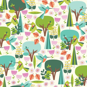 Hummingbirds on Cream for Wallpaper
