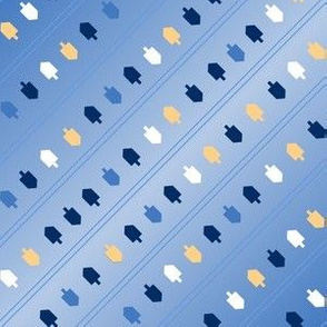 Hanukkah Stripes Driedel Gradant Blue and Gold