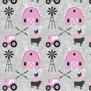On a farm in pink