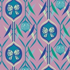 Butterfly and Firefly Lantern Nursery Wallpaper in Pink, Blue, Teal, Green