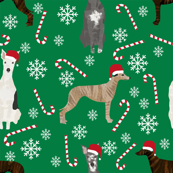 whippet peppermint fabric // dog christmas, xmas, holiday cute dogs, snowflake winter fabric - green