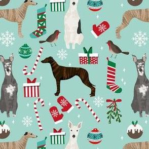 whippet christmas fabric // xmas, holiday, christmas, holiday dog, dogs breeds - blue
