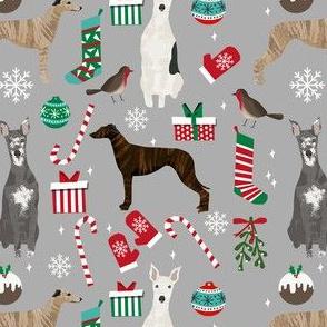 whippet christmas fabric // xmas, holiday, christmas, holiday dog, dogs breeds - grey