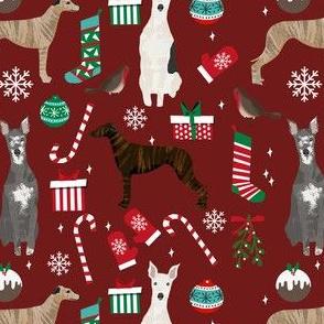 whippet christmas fabric // xmas, holiday, christmas, holiday dog, dogs breeds - burgundy