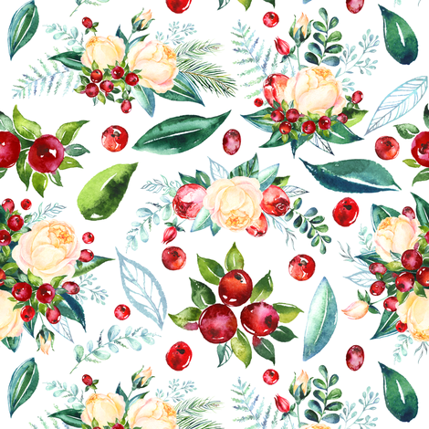 """Christmas Floral 8x6"""" fabric by greenmountainfabric on Spoonflower - custom fabric"""