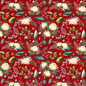 """Christmas Floral 2 on Red 10x8"""""""