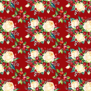 """Simple Christmas Floral on Red 8x6"""""""