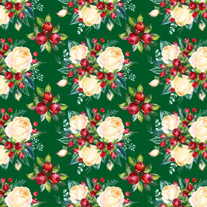 """Simple Christmas Floral on Green 8x6"""""""