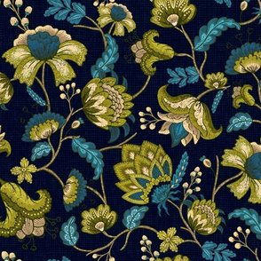 Green and Blue Indian Floral in Dark Blue