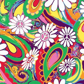 Psychedelic peace flowers painterly colors